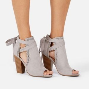 Just for Fun Open Toe Ankle Tie Heeled Bootie